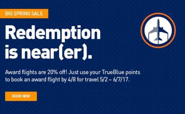 JetBlue 20 Off Award Flights