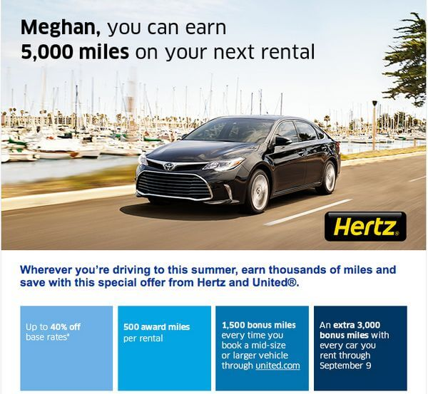 United Airlines Hertz Promotion