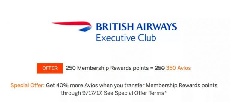 40 Bonus On AMEX Membership Rewards Points Transfers To British Airways