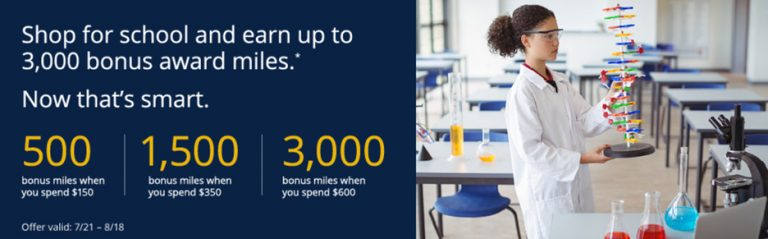 Earn Up To 3000 United Airlines Miles For Back To School Shopping