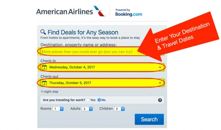 Booking.com American Airlines Miles