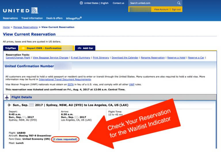 Waitlist For United Airlines Business Class Award Seat