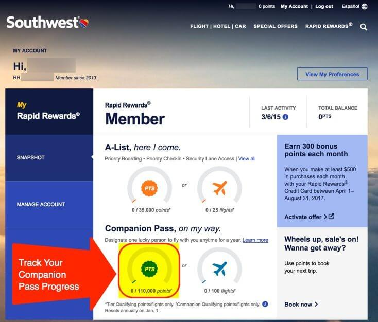 Southwest Shopping Portal Companion Pass Points