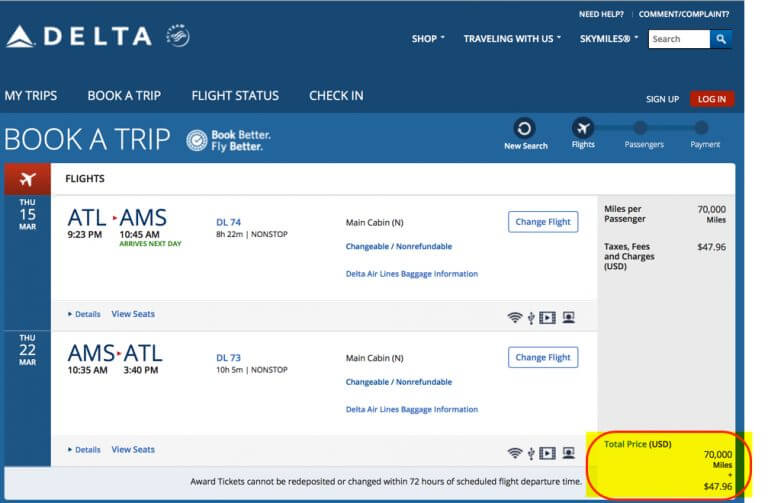 70000 Delta Miles Bonus For Easy 700 Flight Versus A 9751 Business Class Flight