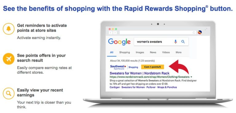 New Trick: Earn Southwest Points Shopping Online EASIER Than Ever With This Tool!