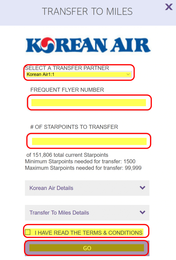 Ultimate Guide To Korean Air Miles Part 6 How To Transfer Starwood Points To Korean Air