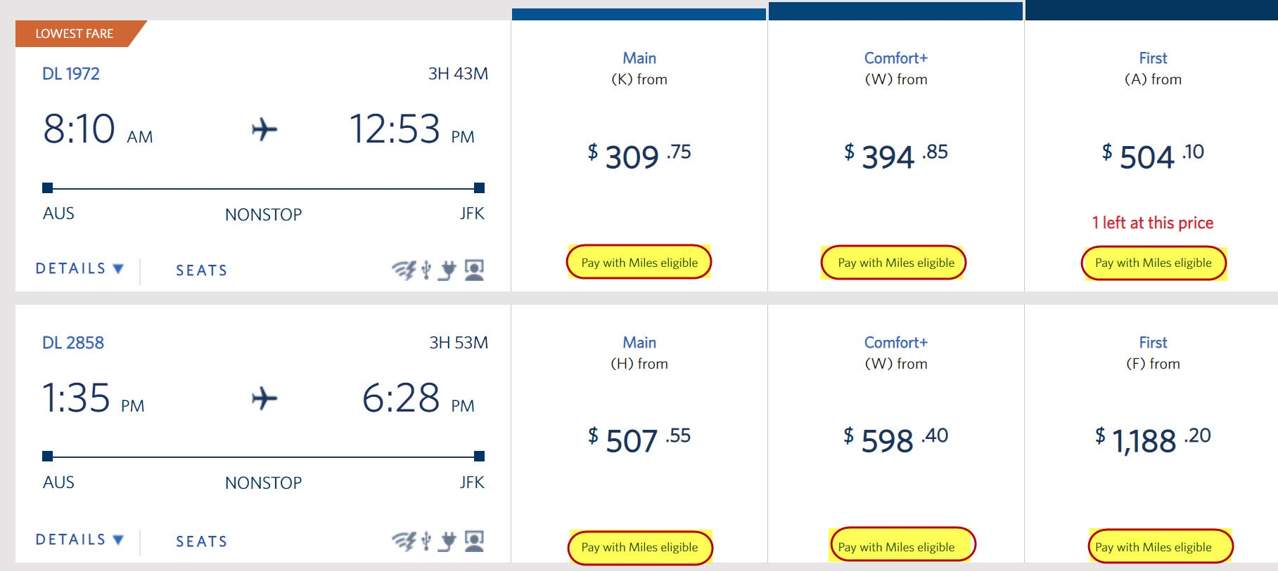 You Can Pay With Miles On Delta And Connection Flights Look For Eligible Under The Fare