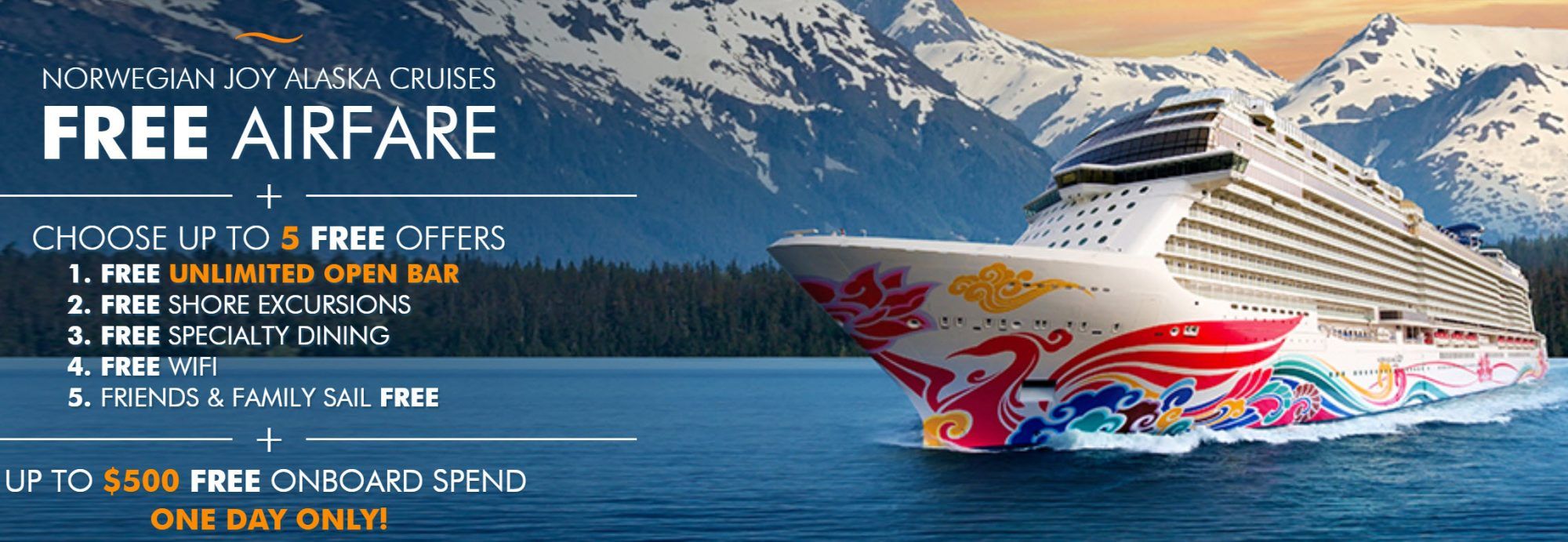 Ends Tonight!  Free Airfare When You Book an Alaska Cruise