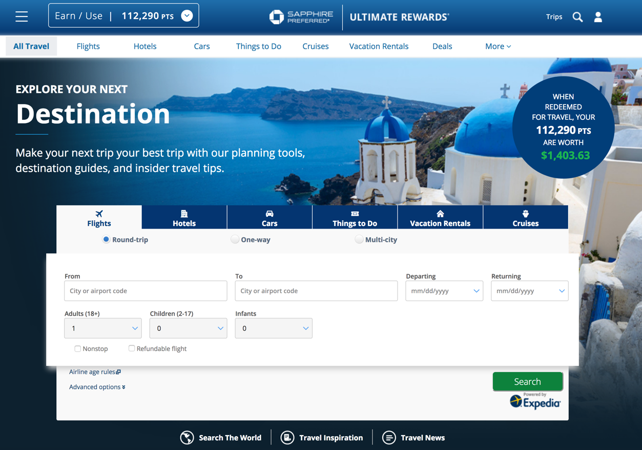 Chase Ultimate Rewards Travel Portal Now Powered by Expedia
