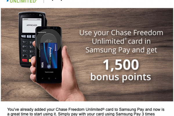 Chase Cardholders: Spend $3 With Samsung Pay, Earn 1,500 Ultimate Rewards Points! (Easy Targeted Deal)