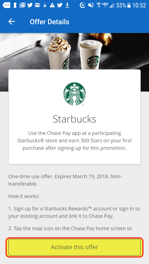2 Free Starbucks Menu Items When You Make A Single Purchase With Chase Pay
