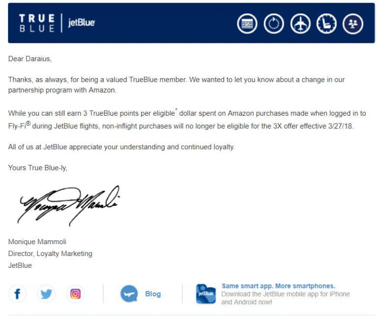 JetBlue Guts Their Amazon Partnership