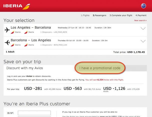 Chase Iberia Plus Card Voucher