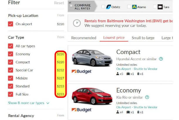 Rental Cars From Baltimore Airport One Way