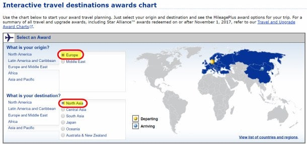 United Airlines Award Chart