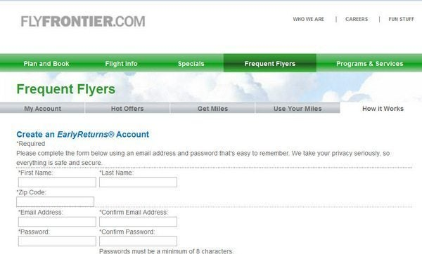 Frontier Sign Up