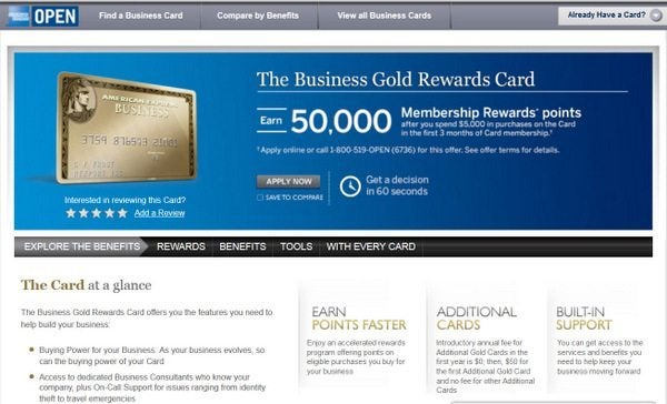 50,000 Points With the AMEX Business Gold Rewards Card!