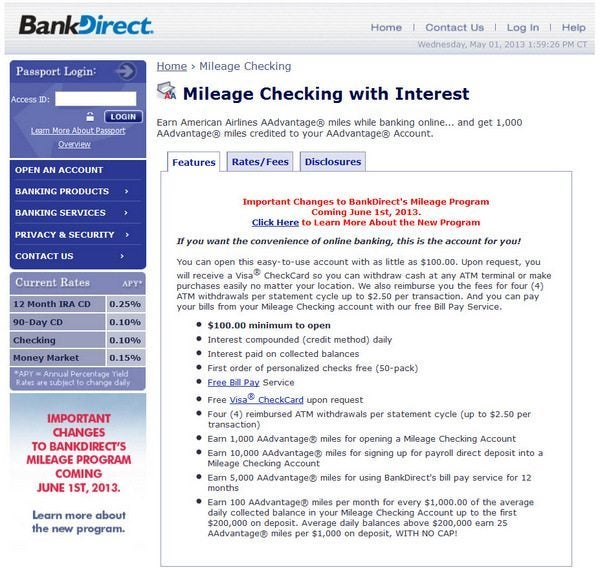 BankDirect Mileage Checking