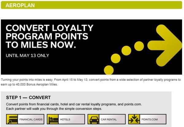 Convert Points to Aeroplan Miles