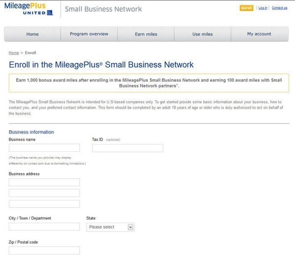 1,000 United Miles for Small Business Network