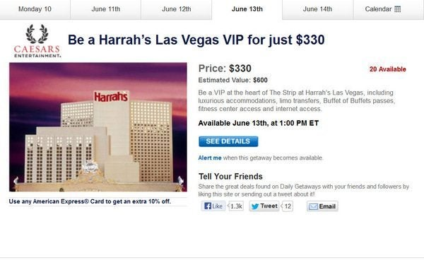 Daily Getaways Harrah's Las Vegas VIP Offer