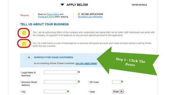 Chase Business Credit Card Application