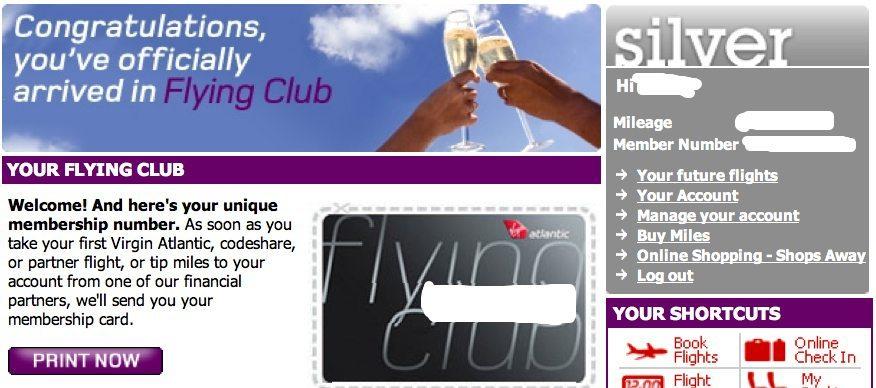 Flying Club Silver confirmation