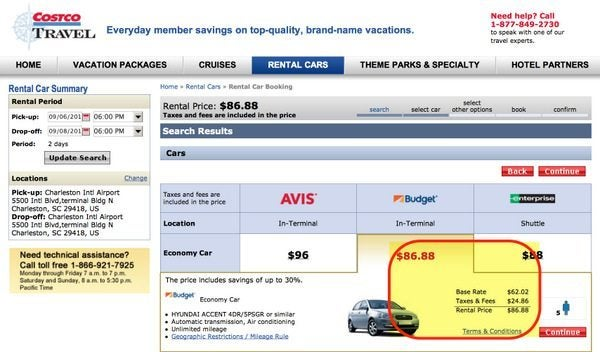 Over 25 Drivers Pay $87 For A Weekend Rental Through Costco