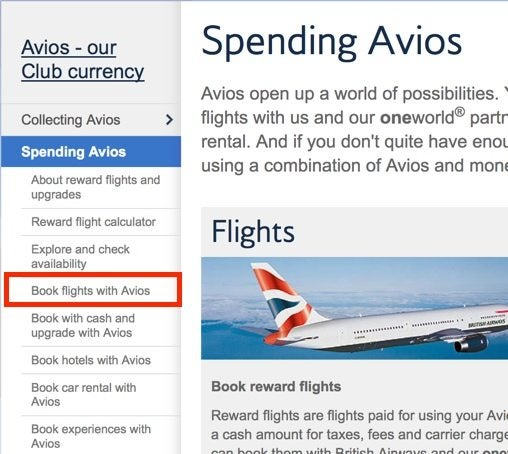 "Click ""book flights with Avios"""