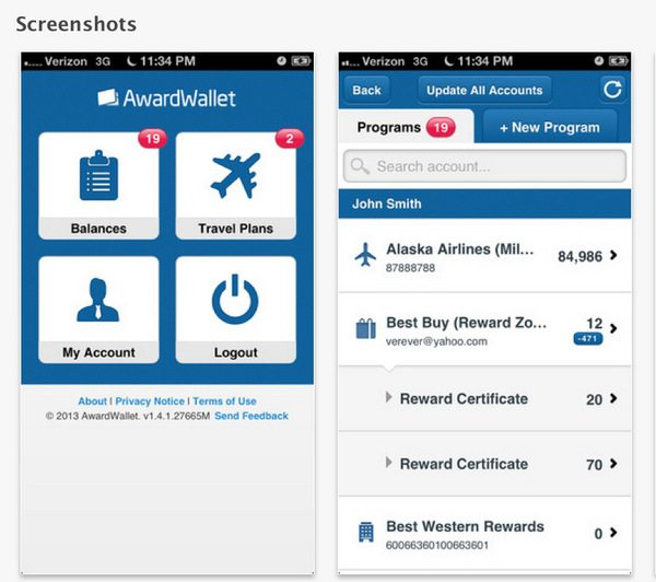 Award Wallet App For iPhone