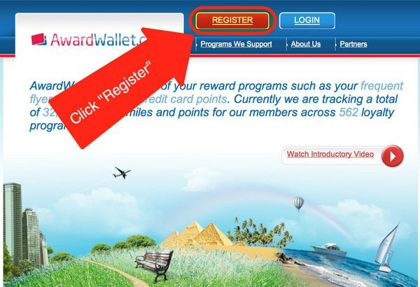 """Step 1 – Click """"Register"""" To Register For An Award Wallet Account"""