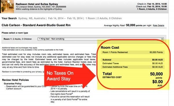 There Are No Taxes On Hotel Award Stays