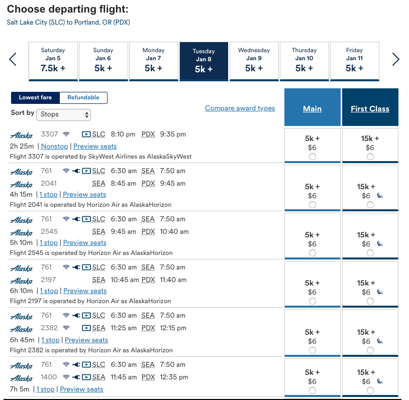 There is no Shortage of Affordable Award Flights on Alaska Airlines