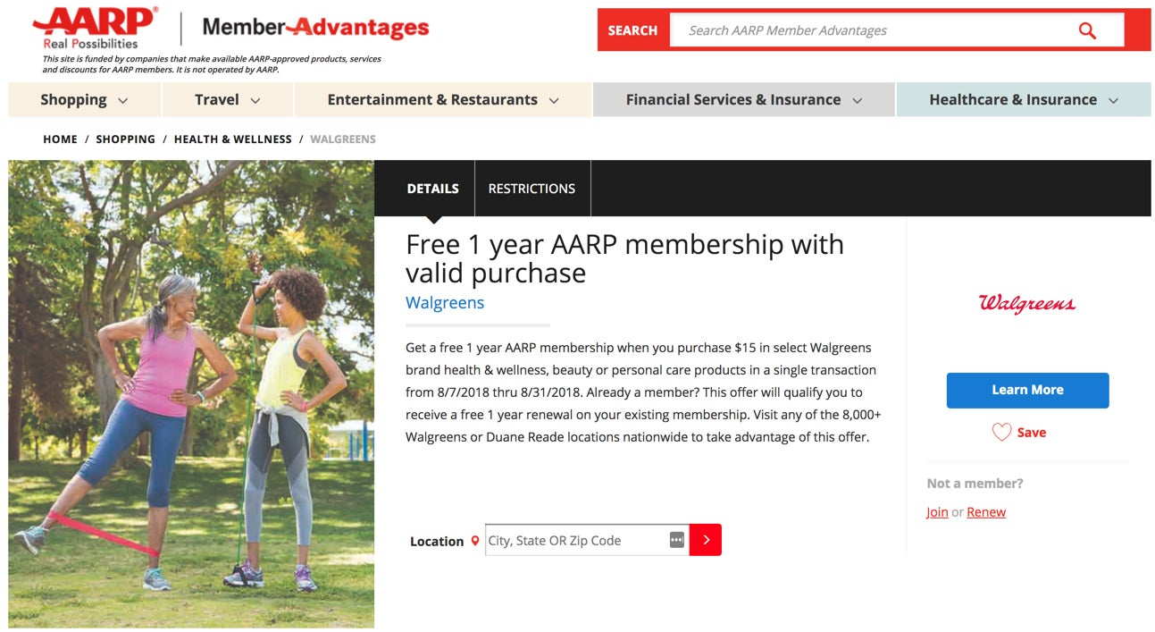 Free AARP Membership (Good for Flight Discounts and More!) After Spending $15+ at Walgreens
