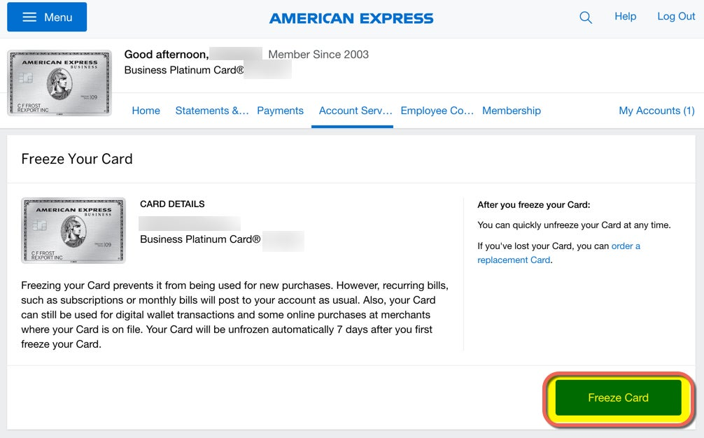 American Express Freeze Card | Million Mile Secrets