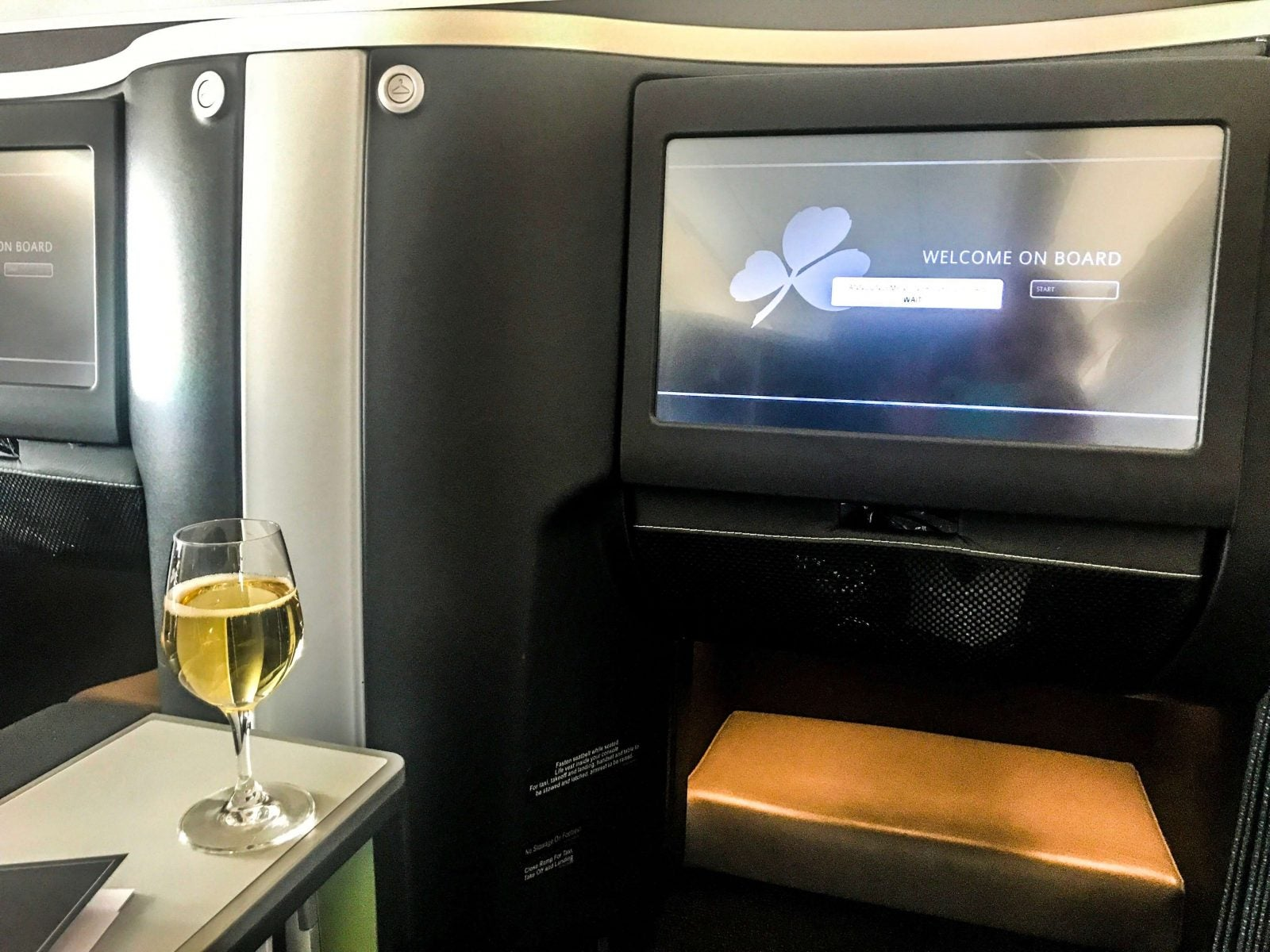 Aer Lingus Business TV and champagne