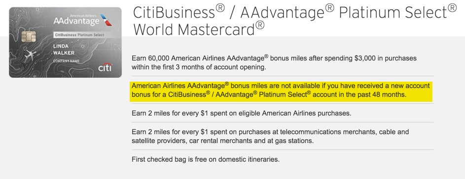 Citi American Airlines Credit Card 48-Month Restriction