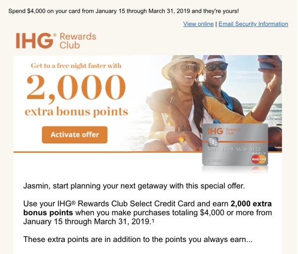 New Chase Spending Offers – Earn 2,000 Hotel Credit Card Points (Targeted)