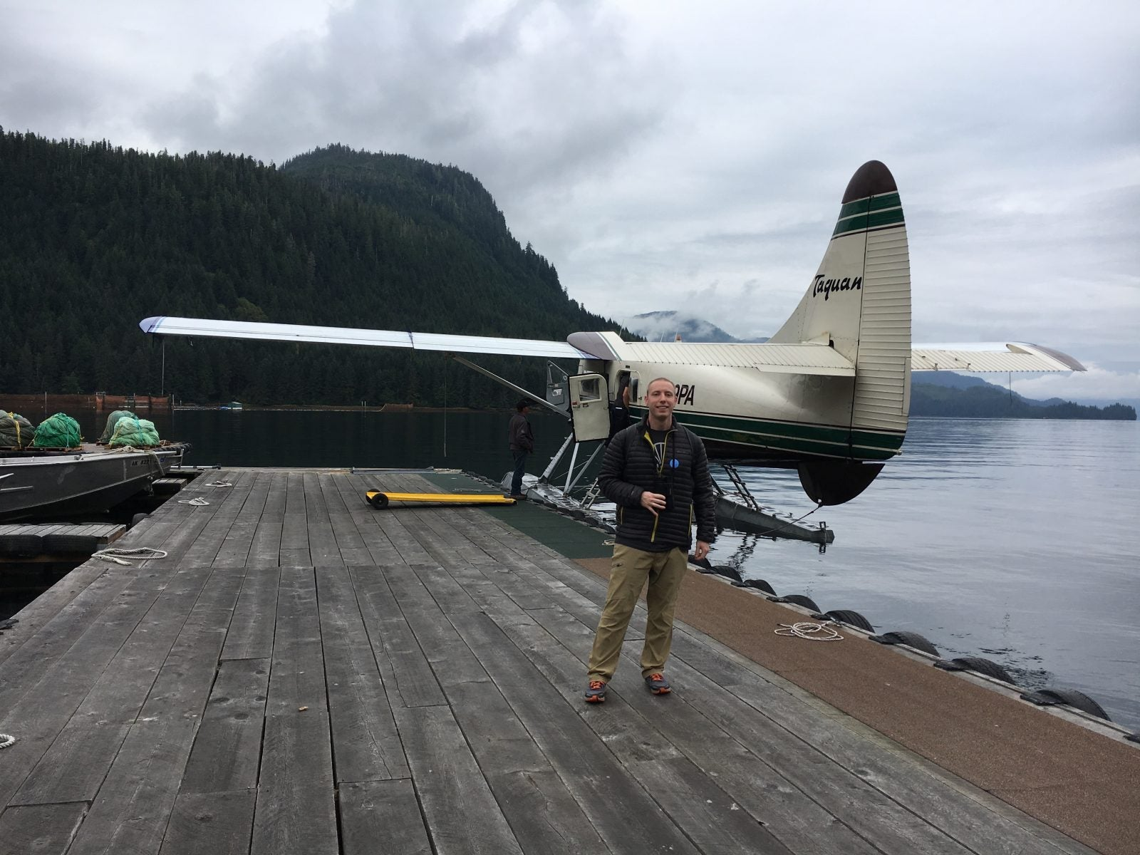 Alex Standing in Front of Float Plane
