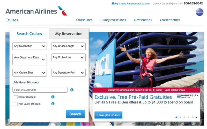 Book a Cruise Through American Airlines Cruise Portal to Earn Points and Get Special Offers