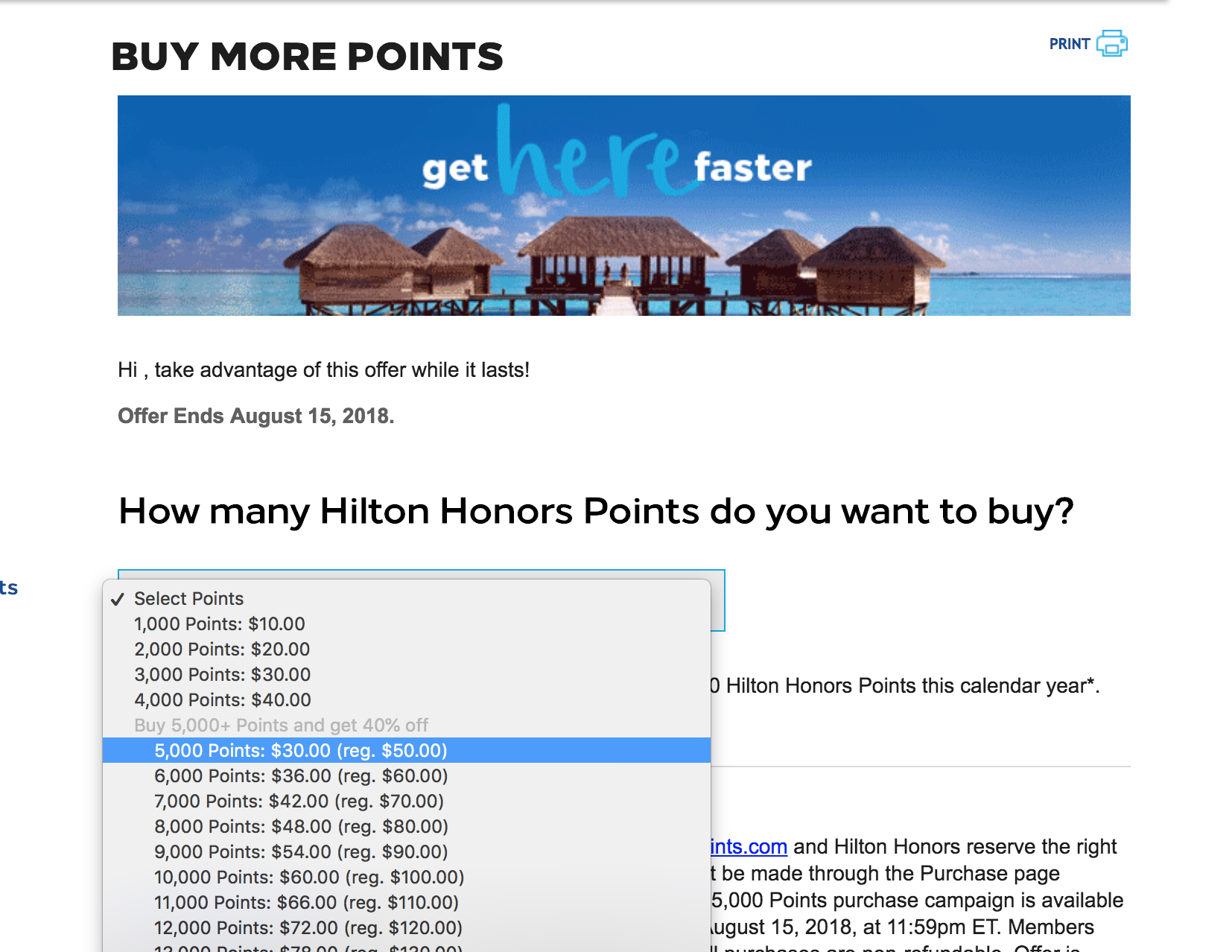Top Up Your Points Account By Purchasing Points From Hilton's Website. Until August 15th You Can Save 40% on Point Purchases Over 5,000 Hilton Points.