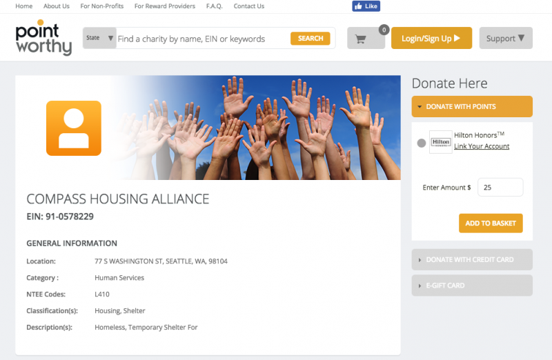 Donate with PointWorthy