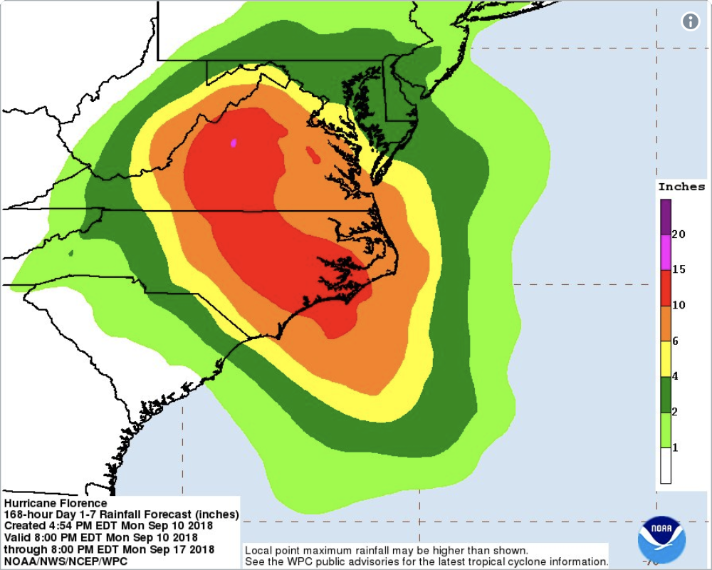 Hurricane Florence Intensifying With 1 Million Ordered to Evacuate