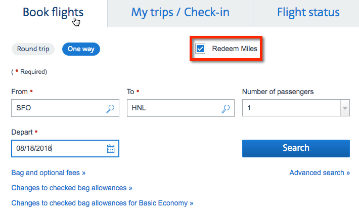 Make Sure To Select That You Want Redeem Miles Before Click Search