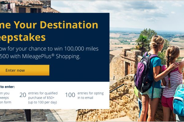 Alert: Win up to 100,000 United Airlines Miles & 2,500 for Shopping Online