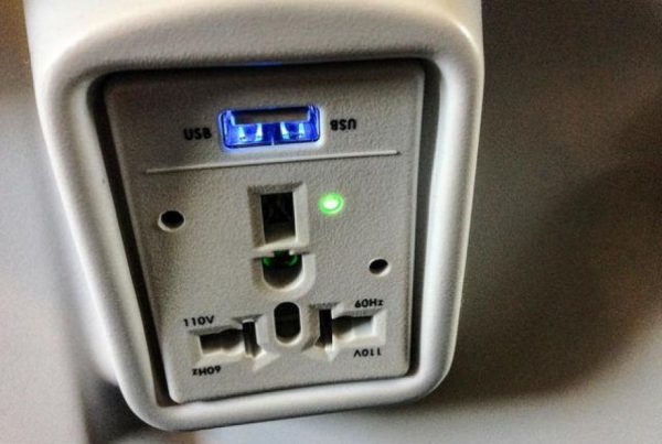 Alaska Airlines Offers Individual Power Outlets Like This for Most Seats. Other Airlines like Delta are Starting to Offer More Individual Power Outlets on Newer Planes.