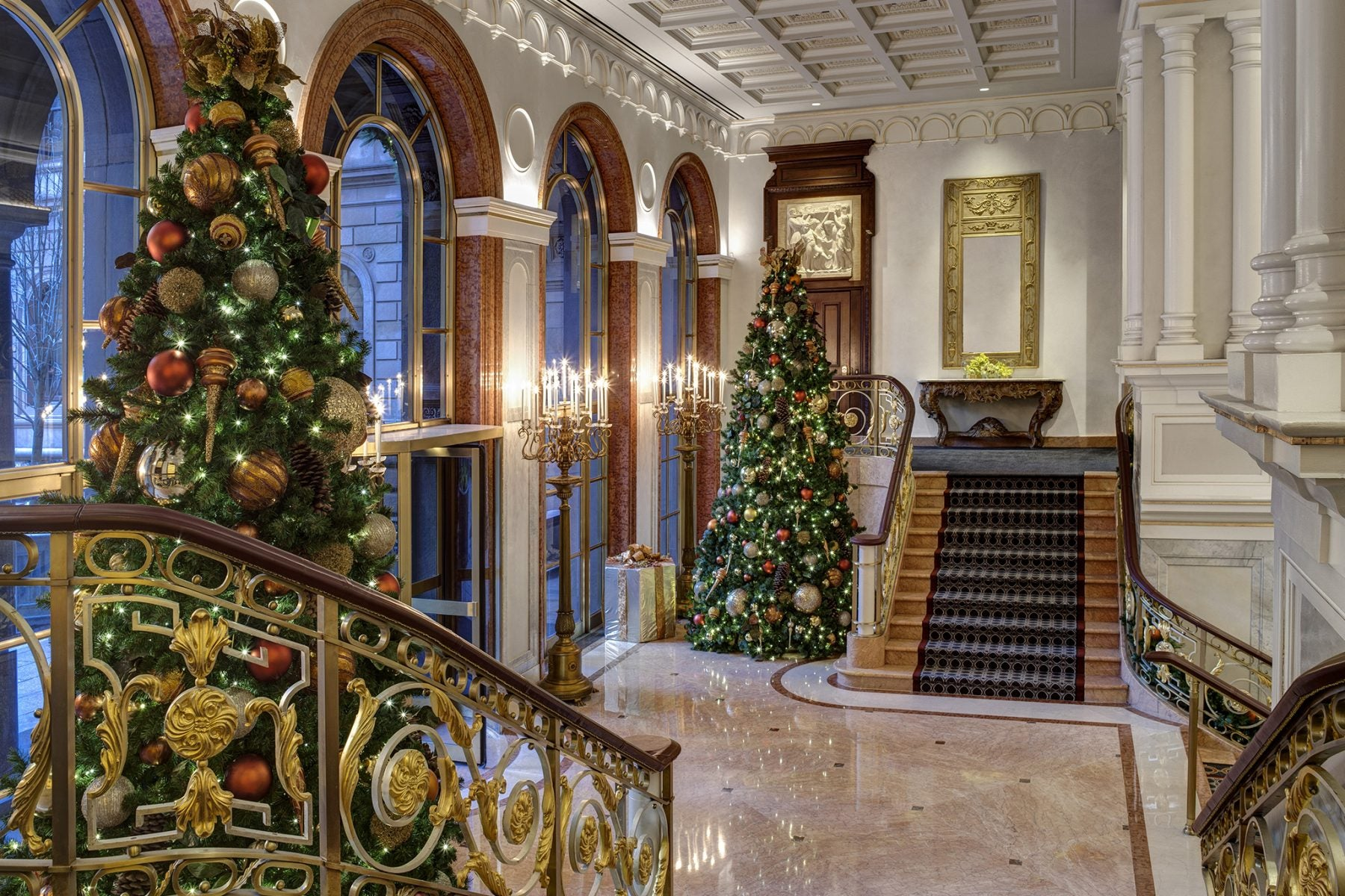 The Lotte New York Palace Hotel in New York City off Madison Avenue Decorates Elaborately for Holiday Travelers.