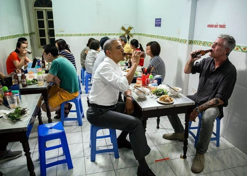 Anthony Bourdain and President Obama Famously Shared a Beer and Pho at Bun Cha Huong Lien in Hanoi, Vietnam. Bourdain Later Tweeted That The Whole Meal Cost Just $6 for Both of Them and He Picked up the Check.