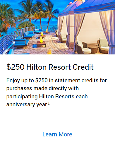 AMEX Hilton Aspire $250 Resort Credit