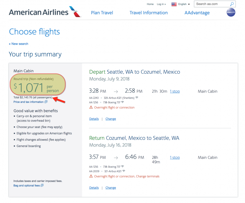 This Same Flight Would be $1,071 per Person, If We Didn't Use Points